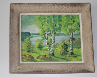 Original painting on board in periodic frame from Finland