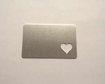 Aluminum Wallet Card with Heart Cutout, 14g Aluminum Credit Card Stamping Blanks Stamping Supplies, Hand Stamping Jewelry Supplies Free Ship