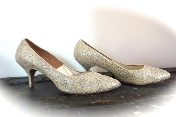 Vintage 1950's Ladies Shoes - Vintage Shoes - Vintage Wedding Shoes - Hollywood Style Glamour Pumps