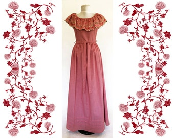 "Vintage ""Vera Mont"" Embroidered Maxi Dress"