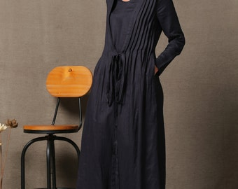 Black Linen Dress - Handmade Unique Layered Pleated Cloak over Simple Dress Autumn Winter Women's Fashion C557