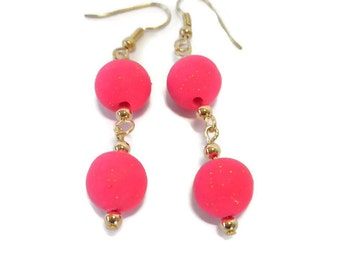 Pink Polymer Clay Earrings with Gold Accents