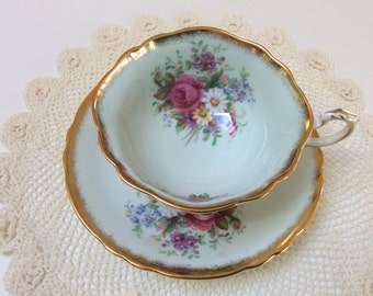 Vintage Paragon China Teacup, By Appointment to Her Majesty the Queen, Pale Blue With Floral Bouquets, Mint Condtion, 1950s