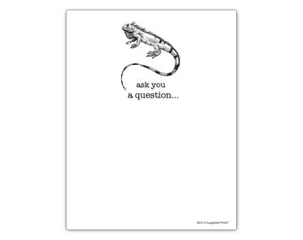 "Iguana Ask You A Question Funny Gift Paper Notepad 4.25"" x 5.5"", 50-sheet Grocery List Pad"
