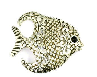 Unique Vintage Sterling Silver Fish Brooch / Pin With Onyx Eyes