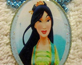 Chinese Mulan Princess Necklace-Handmade Resin Pendant Jewelry