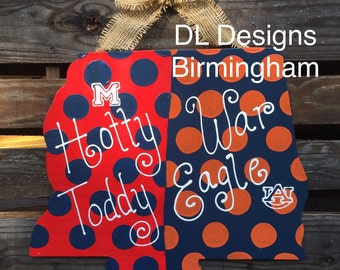 Any team Mississippi and Alabama state Door Hanger or Decoration Auburn Tigers War Eagle  and Mississippi Eagles