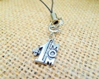 Mom #1 Cell Phone Lanyard / i Phone Charm / Zipper Pull / Zipper Charm