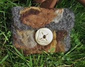 NaturalWOOL Felted Pouch~ Bone Button, crocheted and raw felted Wool
