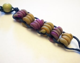 OOAK Stress Relief Keychain: Handmade Polymer Clay Beads Purple, Grey, Moss Green, Copper Color