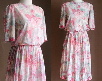 SALE: Vintage 80s Pink Floral Dress - Short Sleeve Pastel Watercolor Midi Dress - Long Pleated Modest Dress - Size Small / Medium