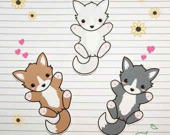 Chibi Wolf Stickers and Magnets