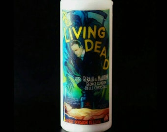 The Living Dead Film Poster, Hammer Horror, Cult Horror, Pillar Candle, Occult Decor, Vintage Horror, Halloween, Halloween Decor