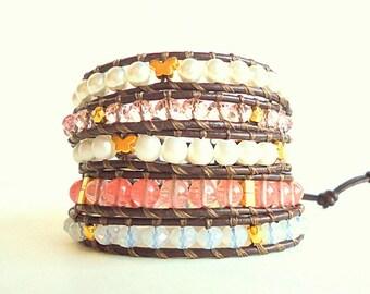 Leather Wrap Bracelet, 5 wrap bracelet, pearl and leather bracelet, rose pink bracelet, cherry quartz jewelry, butterfly bracelet