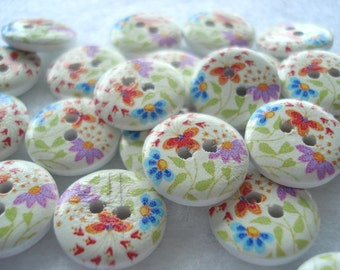 15mm Wood Buttons Blue Red Purple Flower Print  Pack of 15 Buttons WW1531