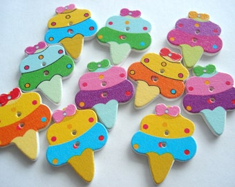29mm Ice Cream Cone Shape Wood Buttons Pack of 12 Ice Cream Buttons WW3041