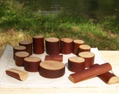 Woodland Blocks, Waldorf Inspired Imaginative Play Blocks Set of 16. Madrone Wood.