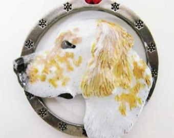 Painted ~ English Setter ~ Yellow ~ Holiday Ornament ~ DP078ORB