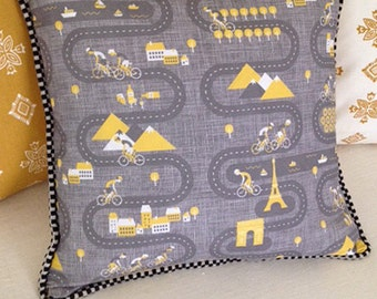 Tour de France Pillow in Gray and Yellow