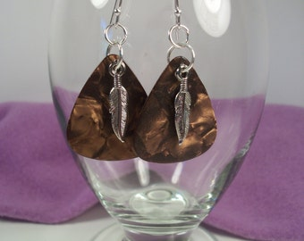Feather Charm, Brown Guitar Pick Earrings, Pierced Ears