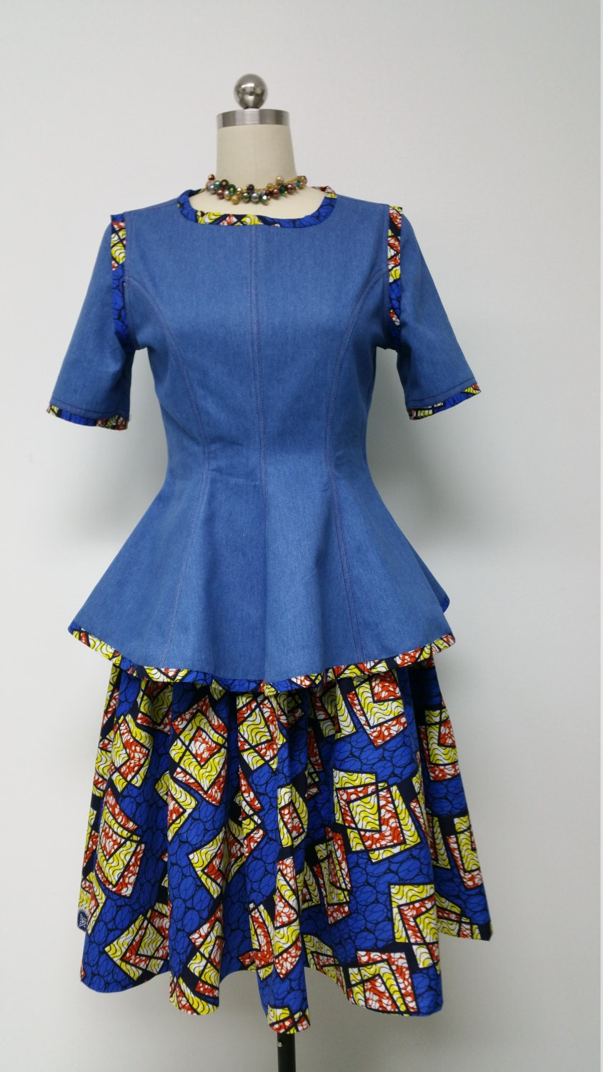 African Print Skirt and Denim Fitted Princess Cut Top.