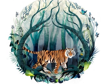 In the Rainforest I: Bengal Tiger
