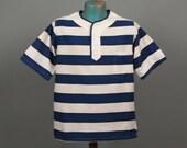 RESERVED FOR SCOTT Mens 1960s Shirt -- Crisp Blue & White Lightweight Cotton Pullover Summer Shirt -- Men's Size Small