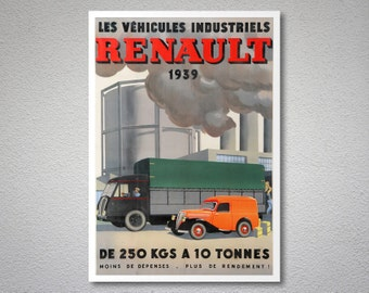 Les Vehicules Industriels Renault, 1939 Vintage Car Poster - Poster Paper, Sticker or Canvas Print