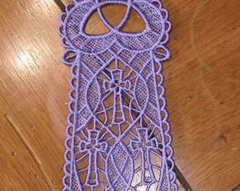 Embroidered Bookmark  - 3  Crosses - Purple