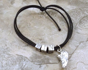 """Black Stretch Cord """"Win"""" Bracelet with a Running/ Track Shoe Pewter Charm - 5450"""