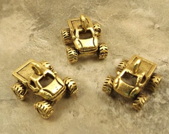 Set of 3 Gold Tone Pewter Monster Truck Charms  - 5417