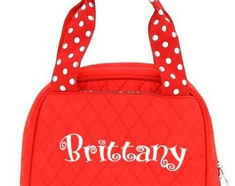 Monogrammed Quilted Lunch Bag - Red