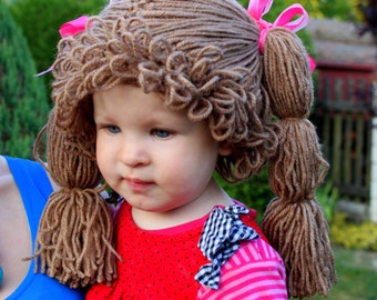 Cabbage Patch Wig/Hat.Crochet cabbahe hat.Made to order.