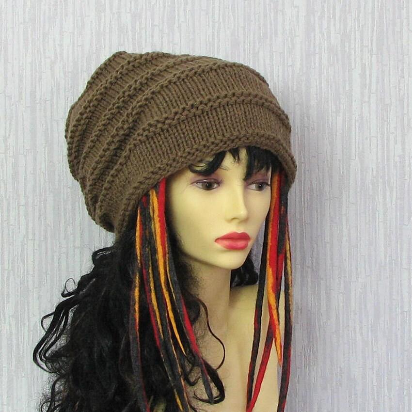 Knitting Pattern For Dreadlock Hat : Hand Knit Womens Hat Dreadlock Accessories by AlbadoFashion
