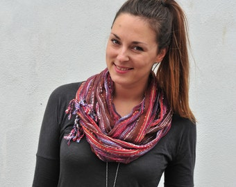 Infinity Scarf: Brown and Multi Color Lurex Shimmer Gauzey Soft Fringe Eternity Scarf
