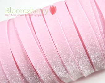 """5/8"""" Glitter Elastic  - Lt Pink/Baby Pink Color - Pink Glitter Elastic - Velvet Glitter Elastic - Pink Elastic - Hair Accessories  Supplies"""