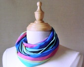 FREE SHIPPING Infinity Scarf  Multi-colors Stripes of Turquoise,Royal Blue, Pink and Black,