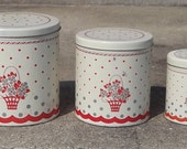 Vintage Tin Canister Set of Three