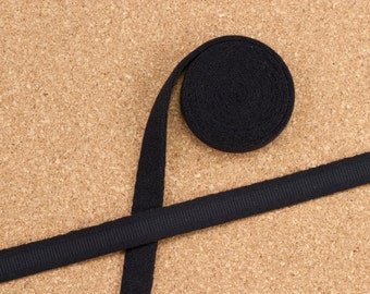 """1 Yard 3/8"""" BLACK Plush Underwire Channeling / Casing for Bra Making Factory Dyed 11mm Bra Making"""