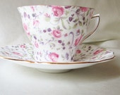 Rosina English Bone China Tea Cup/Saucer,Hand Painted Pink and Purple Flowers, Gold Trim, Get Well Gift, Housewarming Gift, Collectible