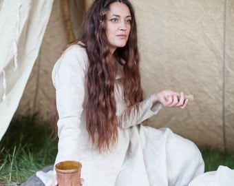 """DISCOUNTED PRICE! Ready to ship! Viking Chemise """"Eydis the Springdancer""""; Linen Undertunic"""