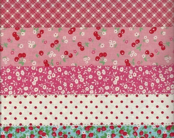 Floral Stripe in Red (Col E) from the 30's Collection by Atsuko Matsuyama for Yuwa of Japan