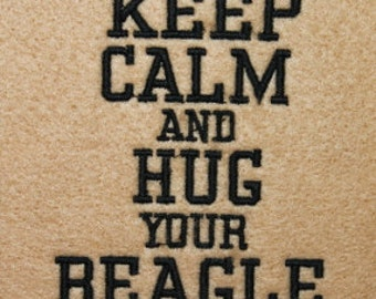 Beagle Keep Calm and Hug your Beagle Digitized Machine Embroidery Design