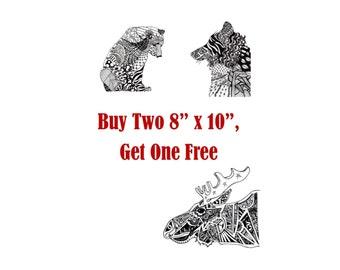 Art Prints. Prints, Black and White Art, Animal Art, Nature Art, Cyber Monday Sale, Nursery Art, Black Art, 8 x 10 Art Prints, Doodle