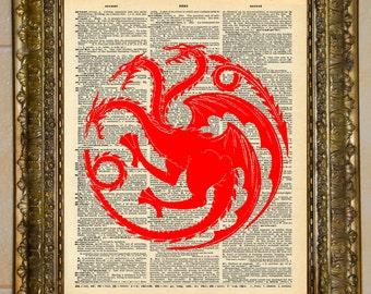 Game of Thrones Targaryen Dragon Sigil Dictionary Art