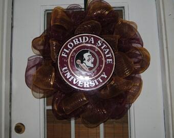 FSU Collegiate Wreath Deco Mesh Burgandy and Gold Collegiate Football Great Birthday Gift Tailgate Party Decoration