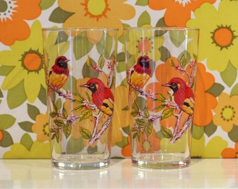 Reserved Please Do Not Buy Set of 6 Vintage Luminarc Tropical Bird Glasses Tumblers Kitsch Retro