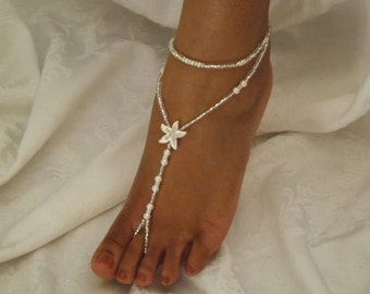 Crystal Pearl Barefoot Sandals Starfish Barefoot Sandles