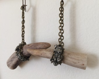 Antler & Pyrite Dangle Earrings - Earthy, Chain, Deer, Stones