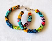 Beaded colorful hoop earrings - geometric earrings - modern art earrings - Beadwork earrings - seed beads earrings - big hoop earrings